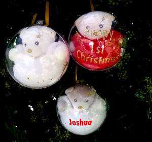 Christmas Teddy Baubles Reduced