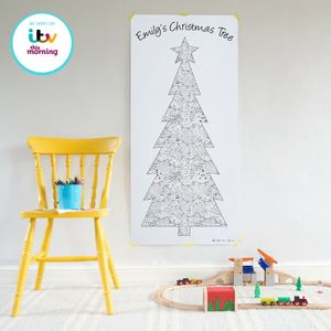 Colour In 'Patchwork' Christmas Tree Poster - christmas home