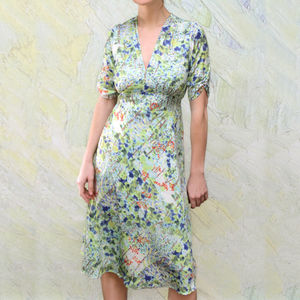 New Season Print Silk Crepe Tea Dress - sale