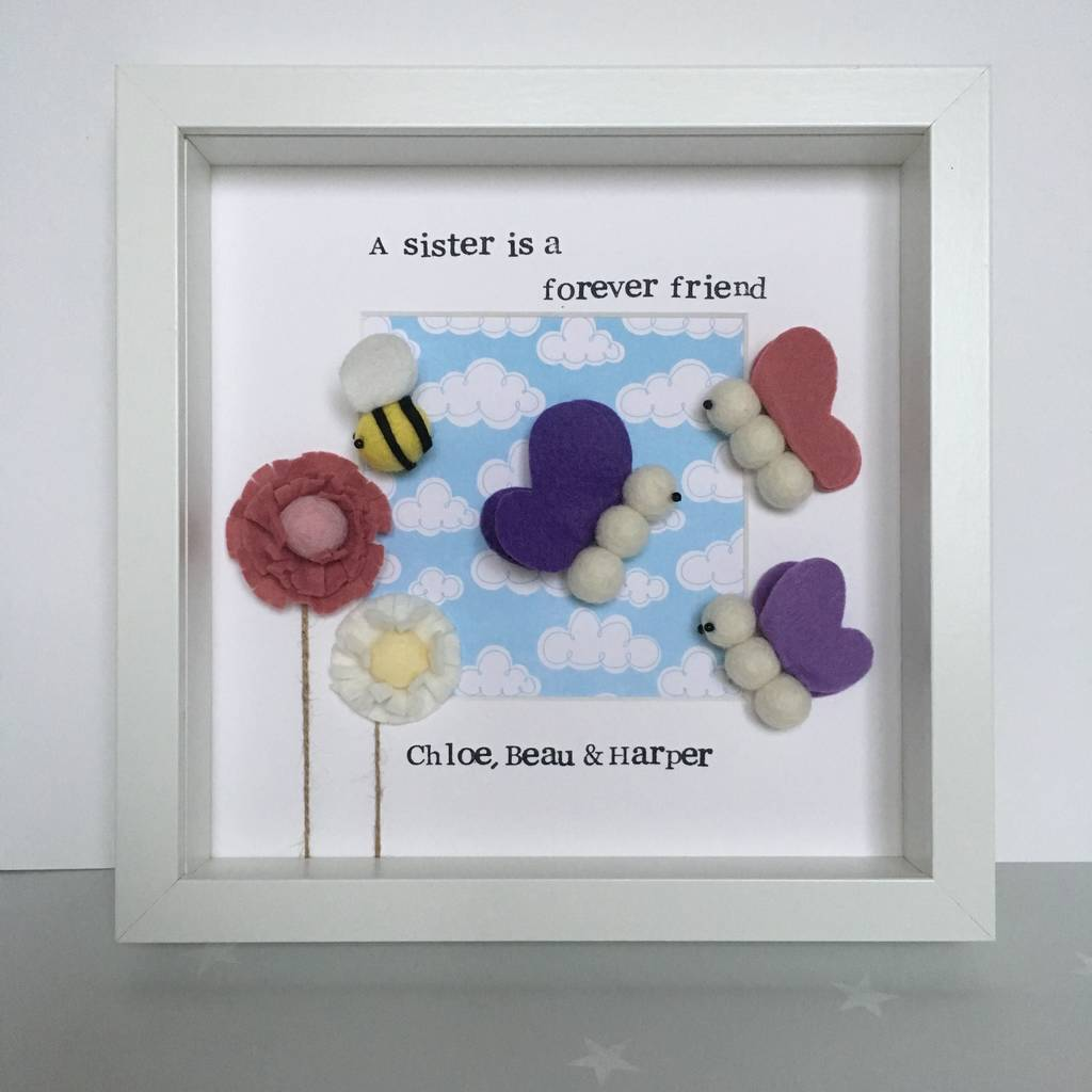 personalised children\'s butterfly and bee sisters frame by alphabet ...