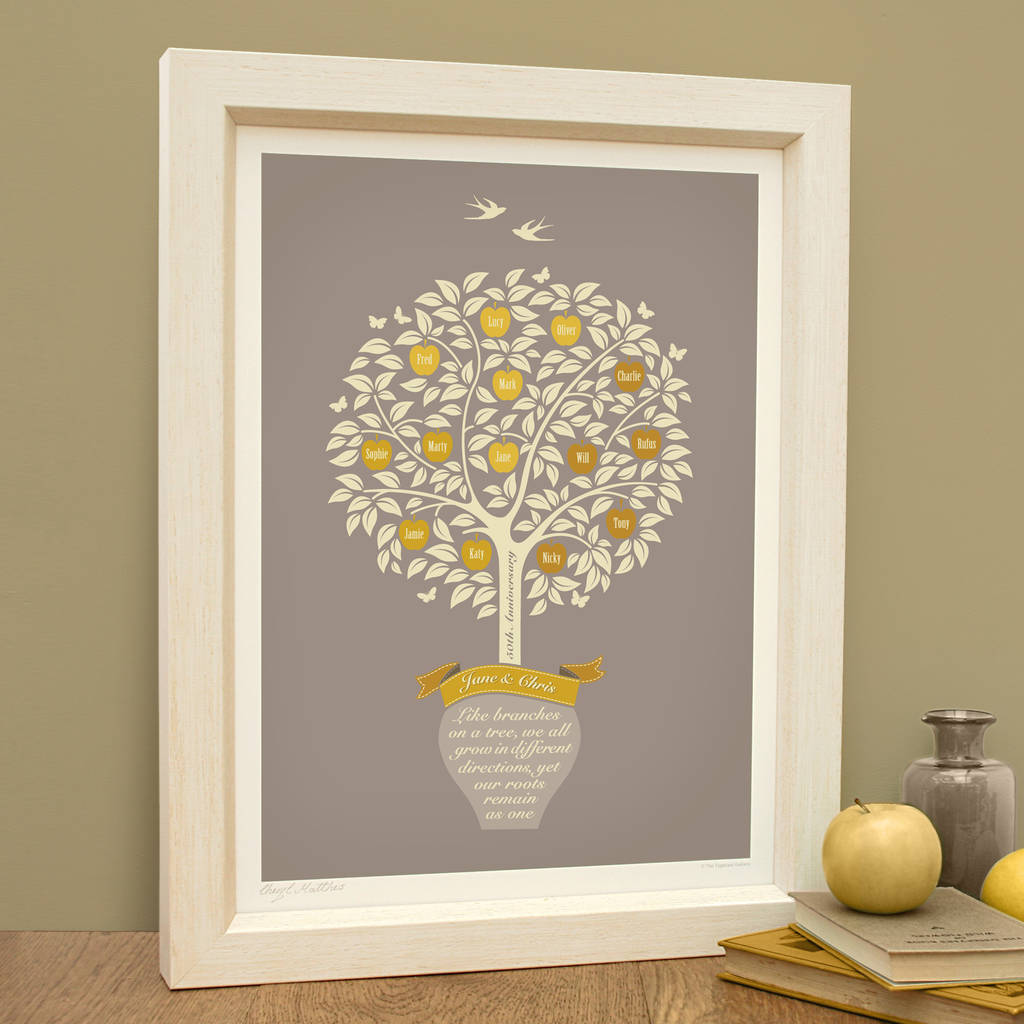 golden anniversary gift personalised family tree print by. Black Bedroom Furniture Sets. Home Design Ideas