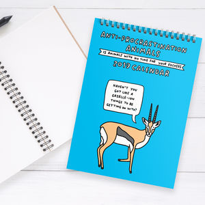 Anti Procrastination Animals 2019 Wall Calendar