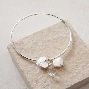 Rough Herkimer Diamond, Pearl And Heart Bangle