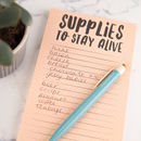 Supplies To Stay Alive Magnetic Shopping List Pad