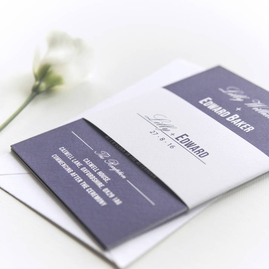 traditional style wedding invitation navy blue by paperpair