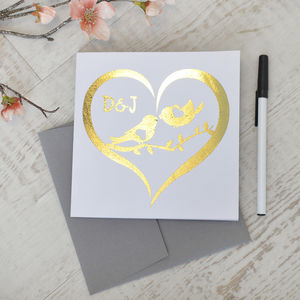 Personalised Metallic Gold Love Bird Card - anniversary cards