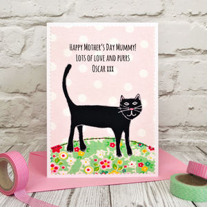 Personalised Mother's Day / Birthday Card From The Cat