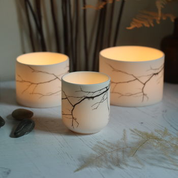 Twigs Porcelain Ceramic Candle Holder