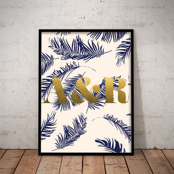 Personalised Foiled Palm Leaf Print