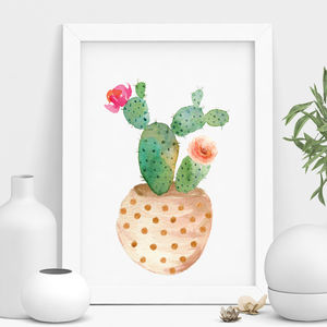 Decorative Potted Cactus Print - still life