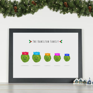 'Brussel Sprouts' Personalised Family Christmas Print - posters & prints