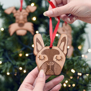Dog Breed Wooden Natural Hanging Christmas Decoration