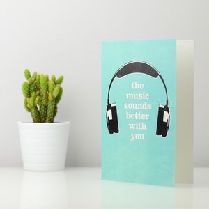 Personalised Headphones Greetings Card