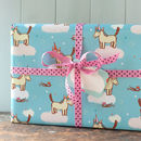 unicorn gift wrap with cloud tag