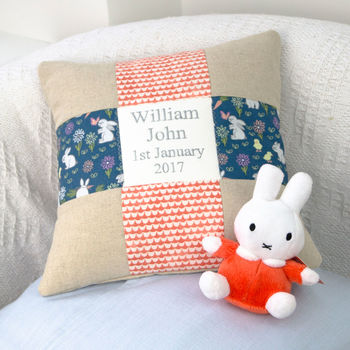 Miffy Personalised Name And Date Cushion