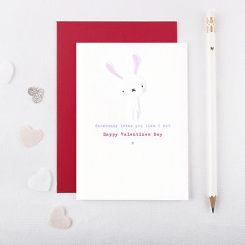 Personalised Embossed Snowbunny Valentines Day Card