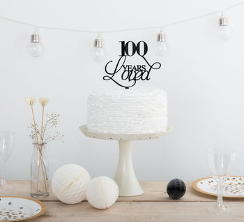 100 Years Loved Birthday Party Cake Topper Set