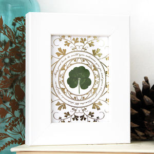 'May Good Luck Be With You' Framed Lucky Clover