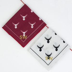 Personalised Christmas Stag Handkerchief Set - mens