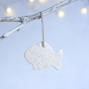 Porcelain Christmas Fish Decoration