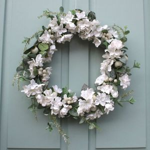 White Hydrangea , Eucalyptus And Berry Christmas Wreath - wreaths