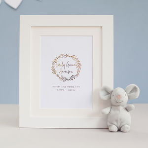 New Baby Personalised Foil Print