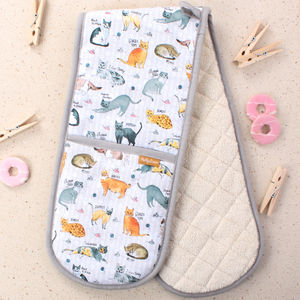 Curious Cats Double Oven Mitts - oven gloves & mitts