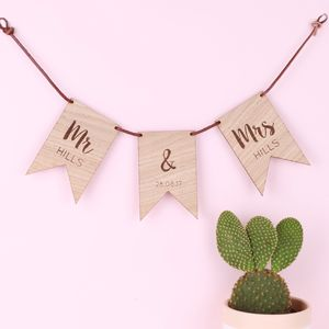 Personalised Wooden Wedding Flag Bunting - hanging decorations