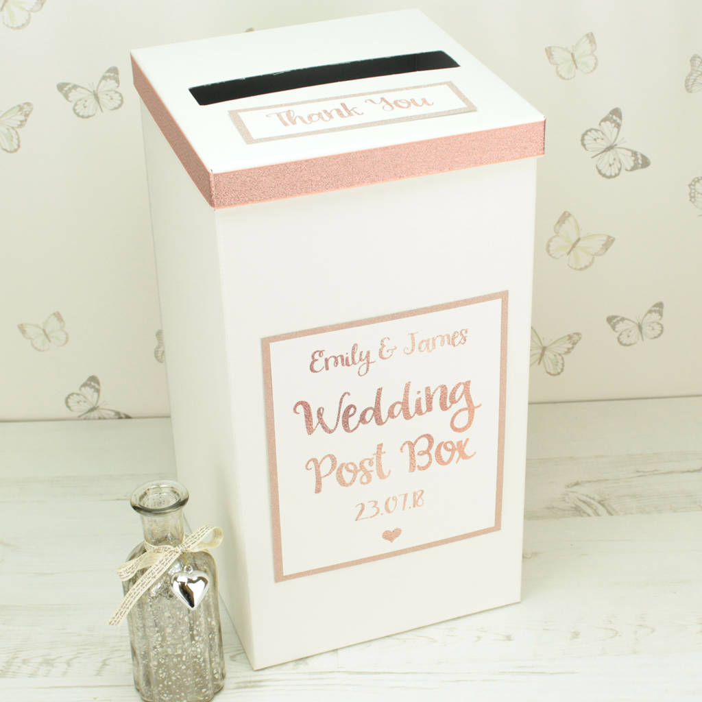 Wedding post and card boxes notonthehighstreet personalised rose gold wedding post box wedding post boxes reheart Choice Image