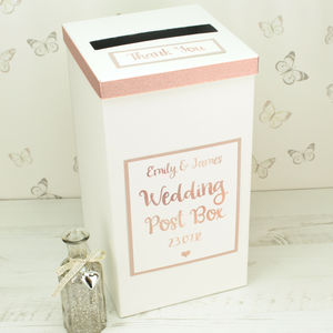 Personalised Rose Gold Wedding Post Box - room decorations