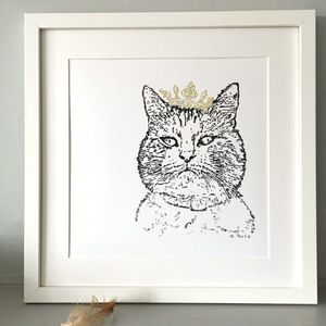 Diva Cat Typewriter Drawn Print - brand new partners