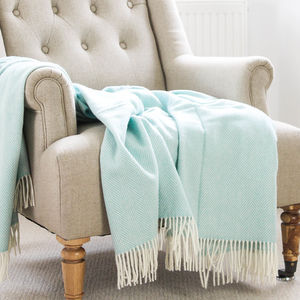 Variegated Duck Egg Herringbone Wool Throw - blankets & throws