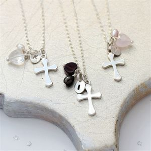 Personalised Cross Charm Necklace - christening gifts