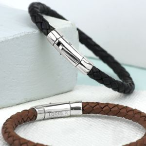 Leather Bracelet With Solid Silver Clasp - personalised