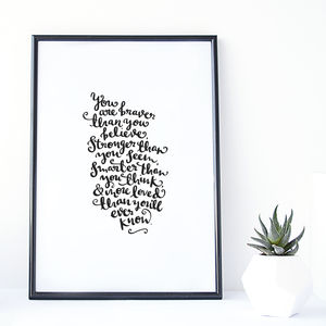 'Braver, Stronger, More Loved' Modern Calligraphy Print - pictures & prints for children
