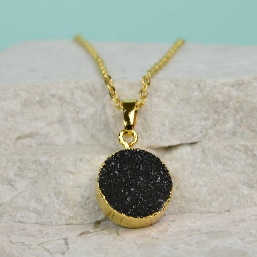 Round Druzy Crystal Necklace