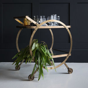 Circular Brass And Glass Drinks Trolley