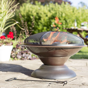 Enamelled Firepit Patio Heater Bronze
