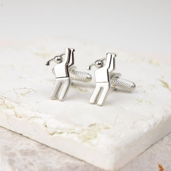 Contemporary Silver Golfer Cufflinks