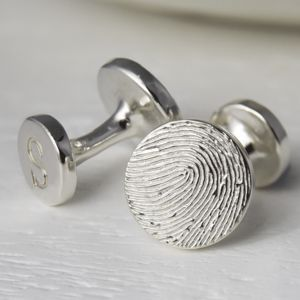 Inked Fingerprint Silver Button Cufflinks