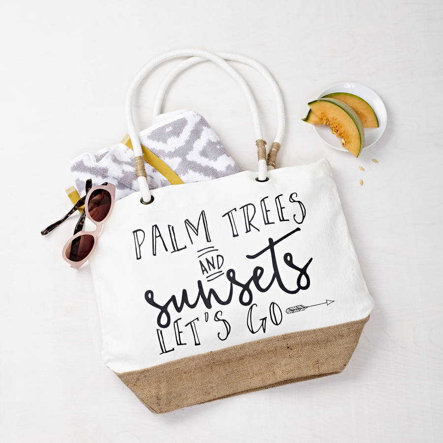 'Palm Trees And Sunsets' Beach Bag