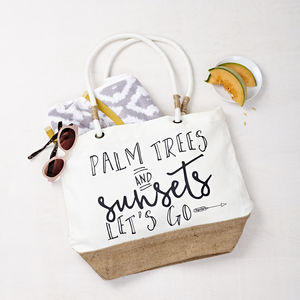 'Palm Trees And Sunsets' Beach Bag - 21st birthday gifts