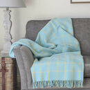 Spring Blue Check Wool Throw