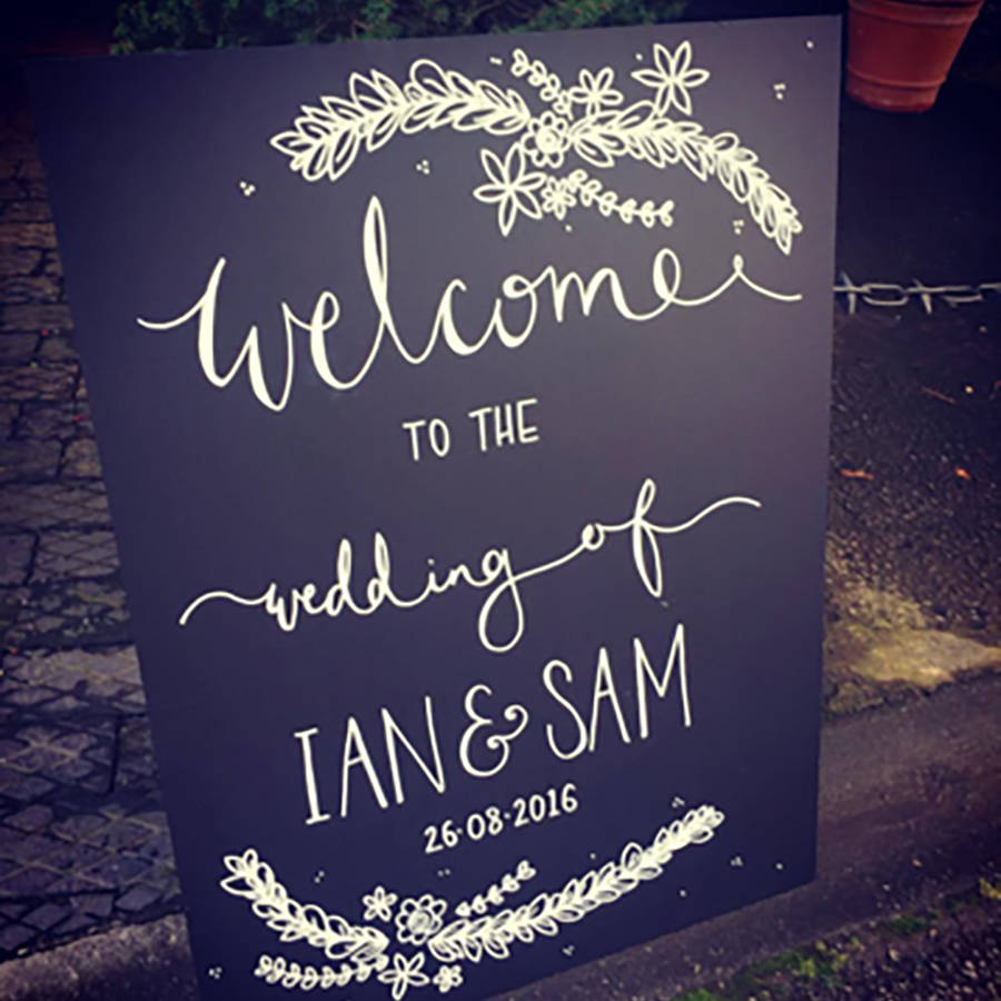 personalised chalkboard wedding welcome sign by mee and es designs