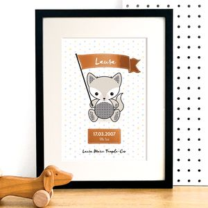 Personalised Fox Baby Name Art Print With Copper Foil