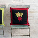 Hand Embroidered Beetroot Cushion