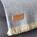 crosshatch blue and cream personalised new home blanket