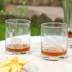 Set Of Two Pheasant And Stag Gents Whisky Tumblers
