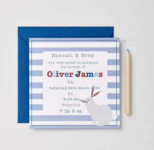 Boys Personalised Birth Announcement Cards - new baby & christening cards