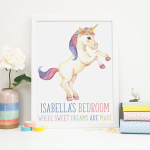 Unicorn Girls Bedroom Print Gift
